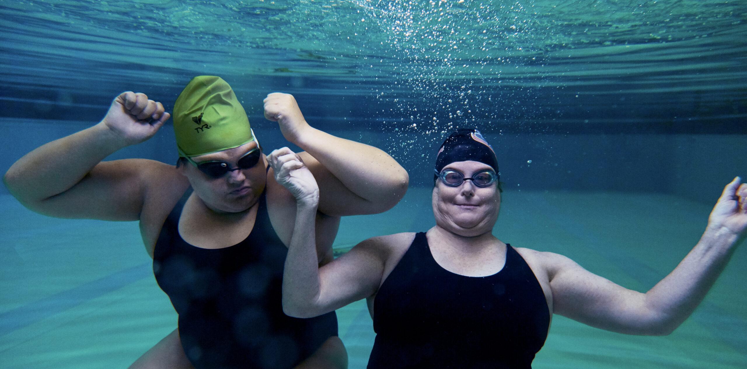 Swim instructors Tricia Baldwin and Pat Baldwin