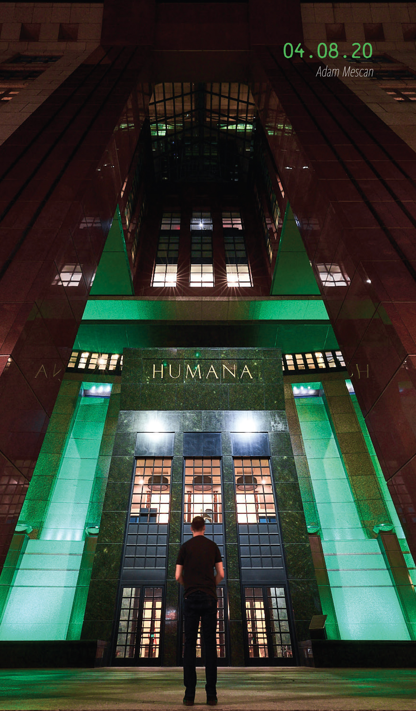 The Humana building, lit in green light. 04.08.2020, by Adam Mescan