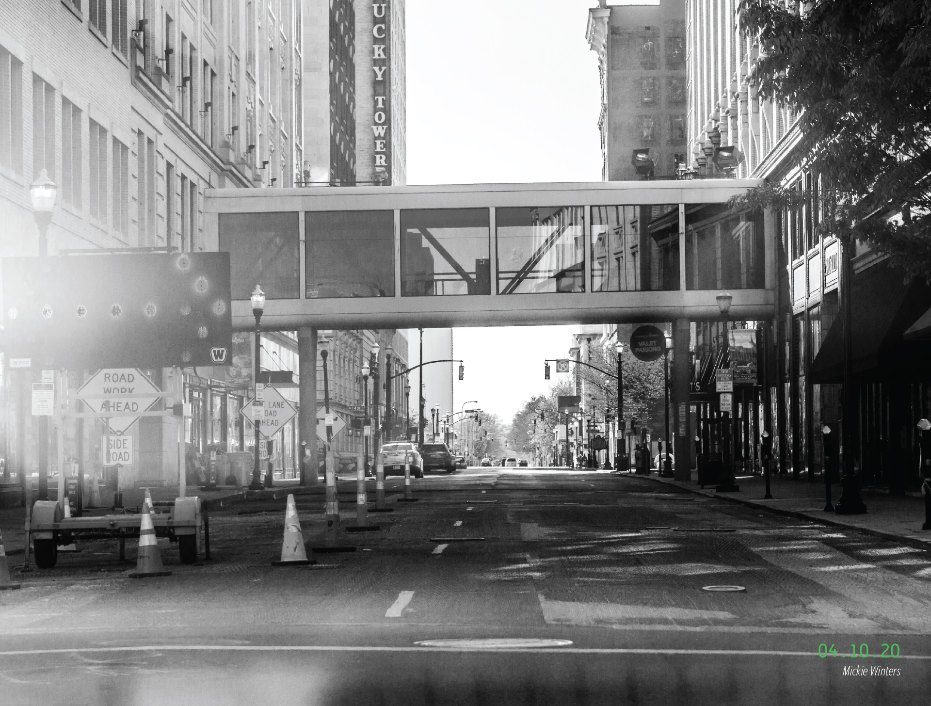 A view up an empty Third Street. 04.10.2020, by Mickie Winters