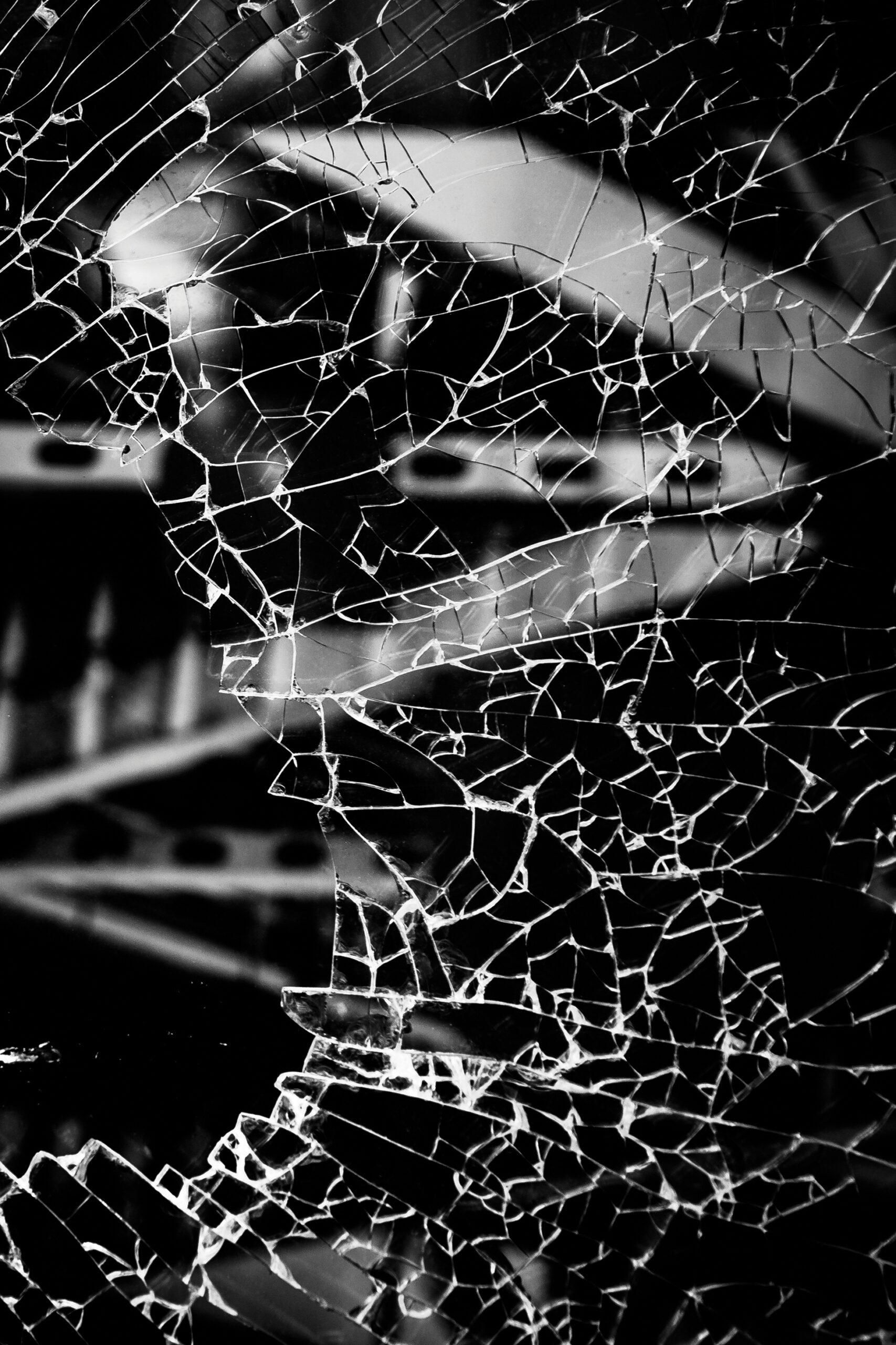 broken edges of glass
