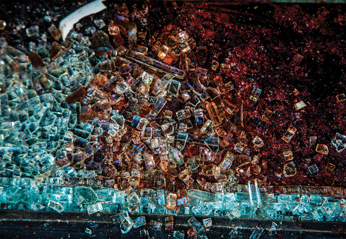 shattered pieces of glass