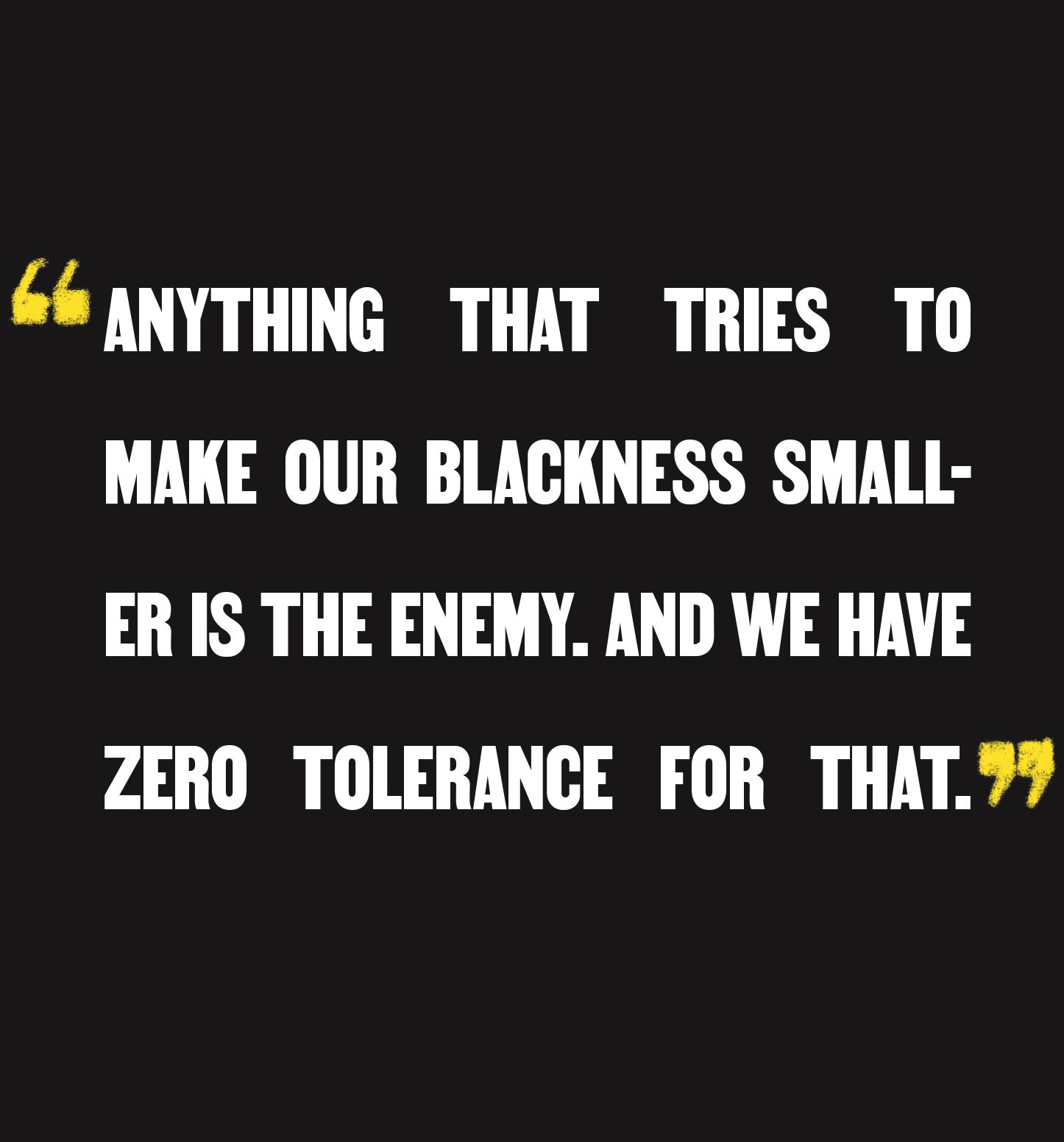 """Anything that tries to make our Blackness smaller is the enemy. And we have zero tolerance for that."""