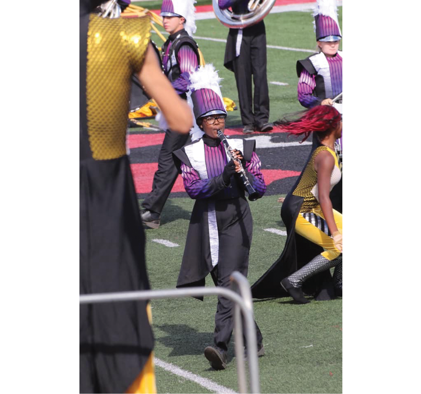 """""""Performing at my last marching band competition. We left as grand champions."""" — A'Nyah Jones, Male"""
