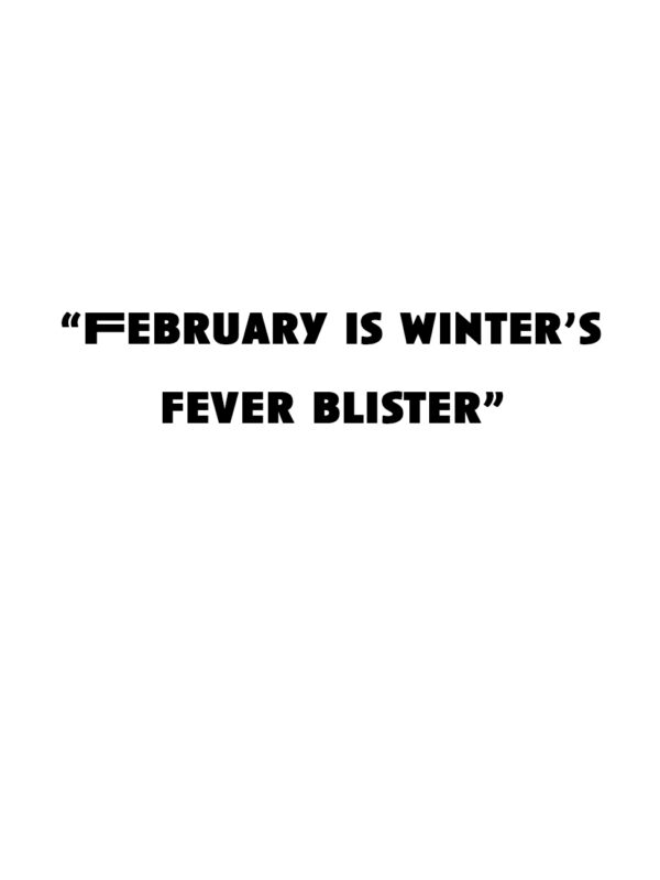 """""""February is winter's fever blister"""""""