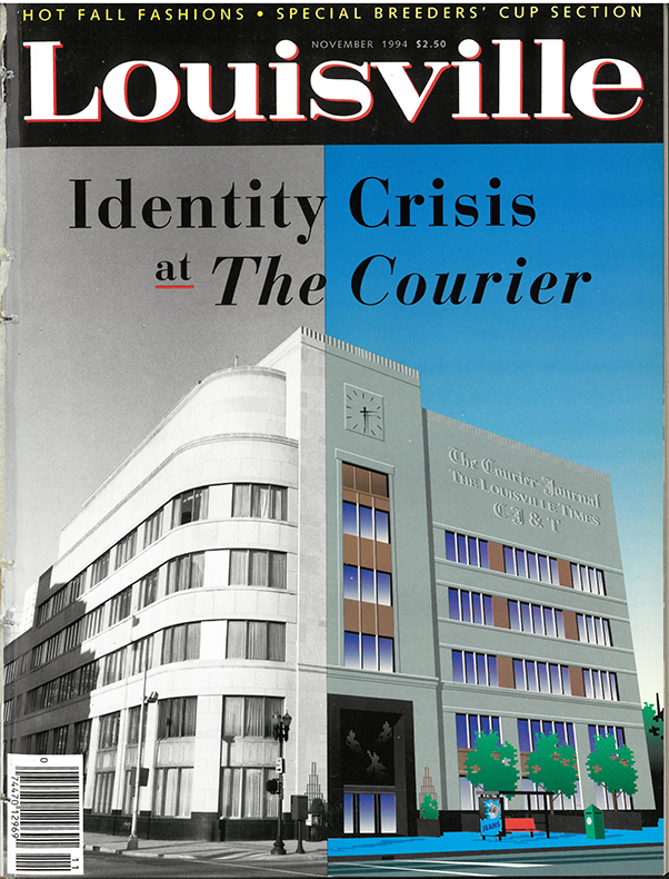"""Louisville Magazine's November 1994 cover, cover line: """"Identity Crisis at The Courier"""""""