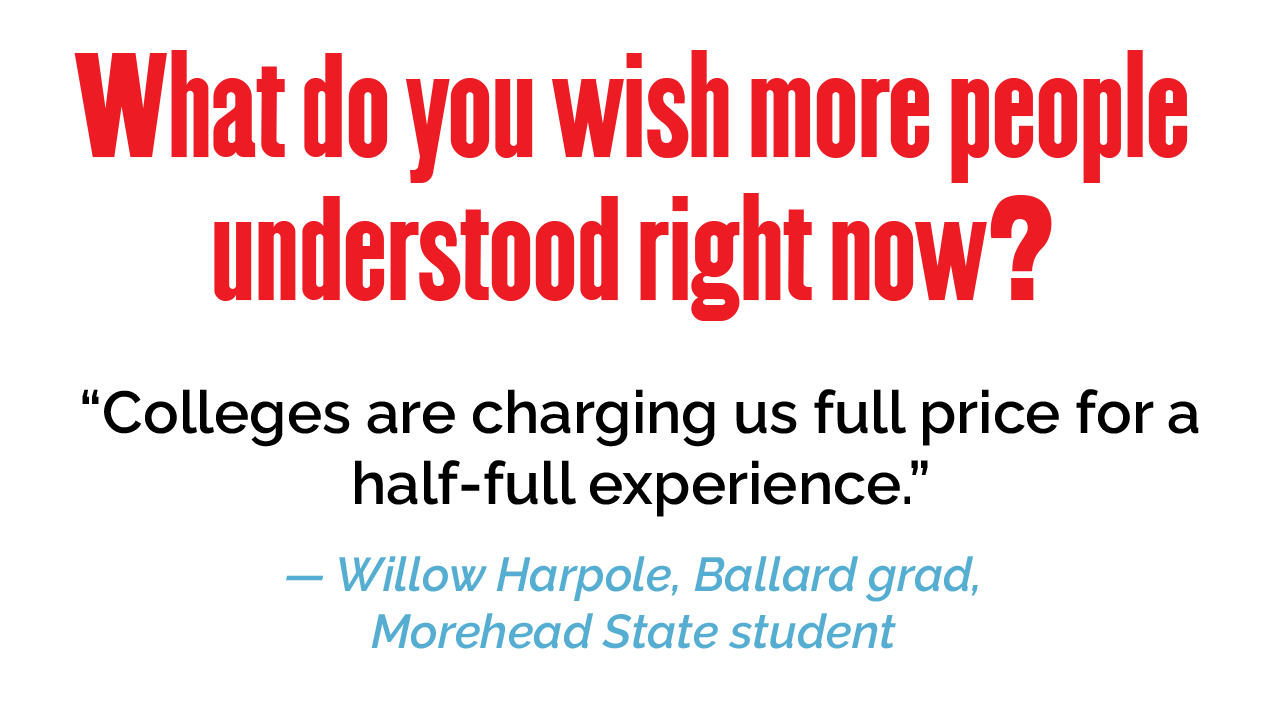 """What do you wish more people understood right now? """"Colleges are charging us full price for a half-full experience."""" — Willow Harpole, Ballard grad, Morehead student"""